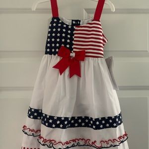 Toddler girls red white and blue dress